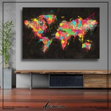 Psychedelic Continents Map Kanvas Tablo
