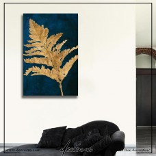 Gold Leaves on Navy Kanvas Tablo